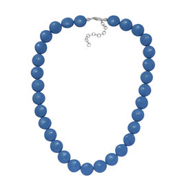 J Francis Lapis Pearl Swarovski Crystal Beaded Necklace in Rhodium Plated Sterling Silver Size 18 wi