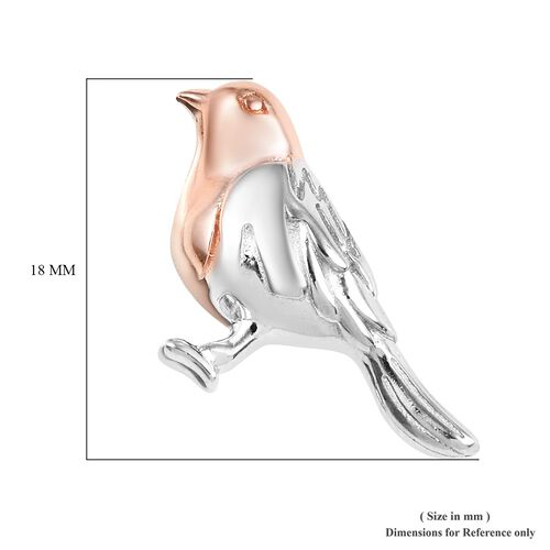 The National Bird - Rose Gold and Platinum Overlay Sterling Silver Robin Stud Earrings (with Push Back), Silver wt. 3.99 Gms
