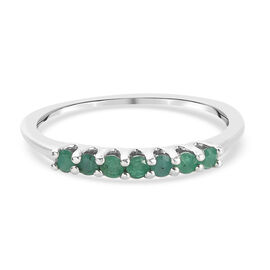 Zambian Emerald Ring in Platinum Overlay Sterling Silver 0.30 ct  0.298  Ct.