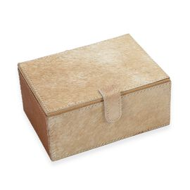 2-Tier Camel Brown Hair-on Natural Leather Jewellery Storage Box with Magnetic Flap (Size 18x13x9 Cm