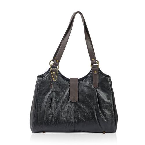 100% Genuine Leather Black Colour RFID Blocker Leopard Print Large Shoulder Bag (Size 40.5x31.75x9.5
