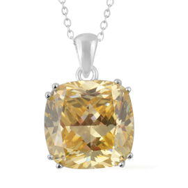 ELANZA Simulated Canary Diamond Solitaire Pendant with Chain in Rhodium Plated Silver 18 Inch
