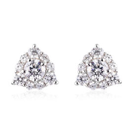J Francis Platinum Overlay Sterling Silver Stud Cluster Earrings (with Push Back) Made with SWAROVSK