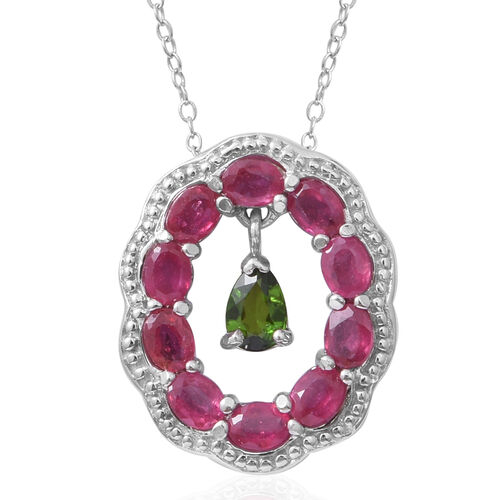 Russian Diopside (Pear), African Ruby Pendant With Chain in Sterling Silver 3.00 Ct.