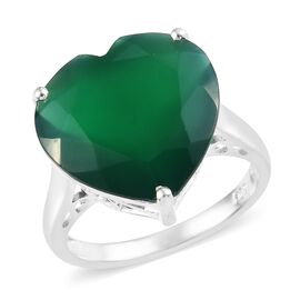 7.75 Ct Verde Onyx Solitaire Heart Ring in Sterling Silver