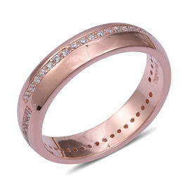 Simulated Diamond (Rnd) Band Ring in Rose Gold Overlay Sterling Silver