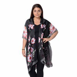Plum Blossom Flower Pattern Kimono (Size 83x90 Cm) - Black