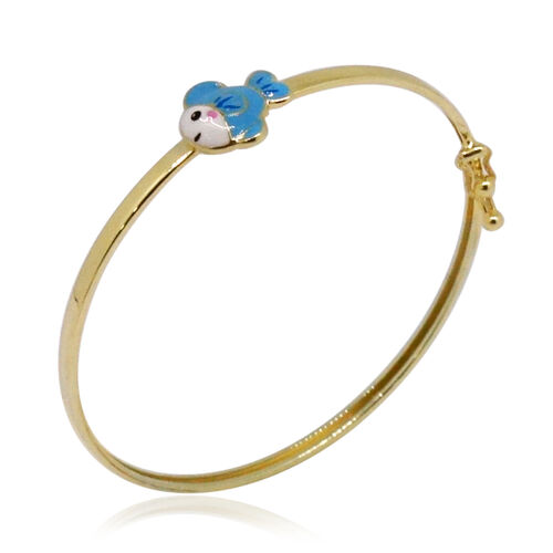Royal Bali Collection - 9K Yellow Gold Blue and White Colour Enameled Fish Kids Bangle (Size 5).Gold Wt 1.50 Gms