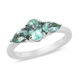 RHAPSODY 1.15 Ct AAAA Mozambique Paraiba Tourmaline Trilogy Ring in 950 Platinum 4.14 Grams