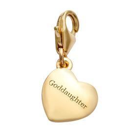 14K Gold Overlay Sterling Silver Goddaughter Heart Charm