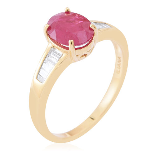 Signature Collection- ILIANA 18K Yellow Gold AAA Burmese Ruby (Ovl 2.00 Ct), Diamond Ring 2.250 Ct.