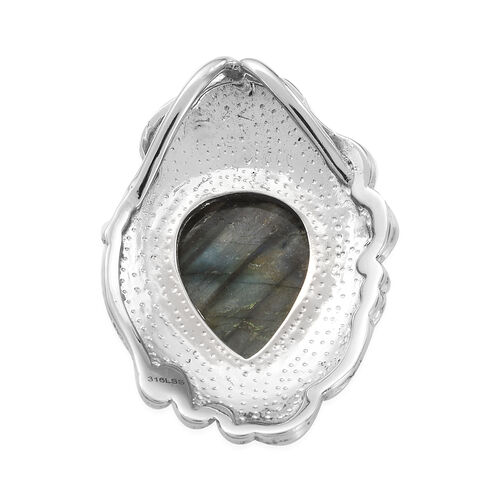 Labradorite and Natural Cambodian Zircon Pendant in Stainless Steel
