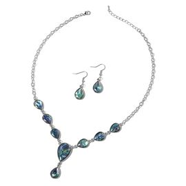 2 Piece Set Abalone Shell Necklace and Hook Earrings in Stainless Steel 19 with 2 inch Extender