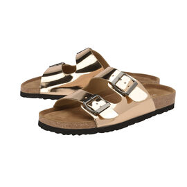 Dunlop Dionne Open Toe Flat Sandals in Rose Gold