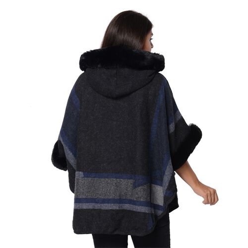 Geometry Pattern Half Round Shape Blanket Wrap with Faux Fur Hat, Sleeves and Two Front Pockets (Size 76x107 Cm) - Black