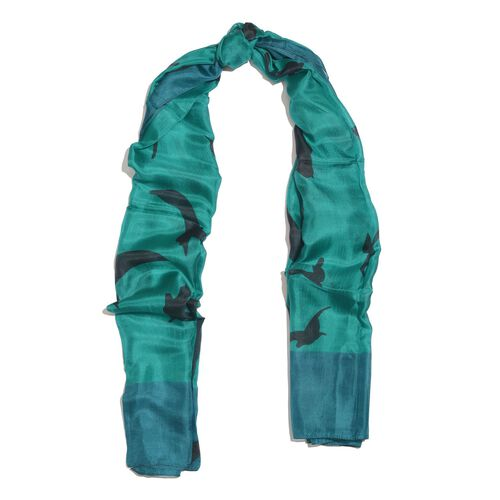 One Time Deal-Designer Inspired 100% Mulberry Silk Green, Black and Blue Colour Handscreen Flying Birds Printed Scarf (Size 200X170 Cm)