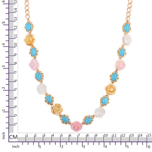 Designer Inspired - Arizona Sleeping Beauty Turquoise (Ovl), Yellow, Pink and White Mother Of Pearl Flower Necklace (Size 18) in Yellow Gold Overlay Sterling Silver 29.500 Ct.