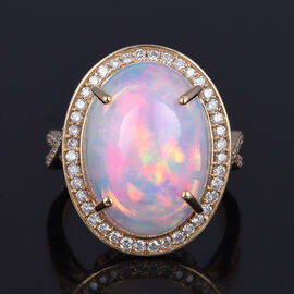 ILIANA 18K Yellow Gold AAAA Ethiopian Welo Opal (Ovl 18x13mm) and White Diamond (SI GH) Ring 9.45 Ct