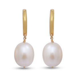 White Freshwater Pearl Drop Earrings (with Hoop) in Yellow Gold Overlay Sterling Silver