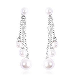 White Shell Pearl Detachable Dangle Earrings in Rhodium Plated Silver