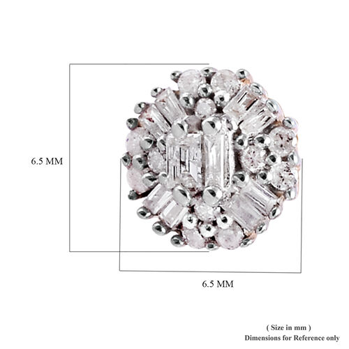 9K Yellow Gold SGL Certified Diamond (Rnd and Bgt) (I3/G-H) Earrings (with Push Back) 0.250 Ct.