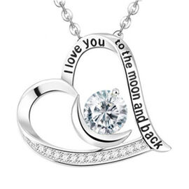ELANZA Simulated Diamond Heart Pendant with Chain (Size 18) in Sterling Silver