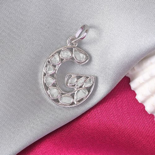 Artisan Crafted Polki Diamond Initial G Pendant in Platinum Overlay Sterling Silver 0.50 Ct.