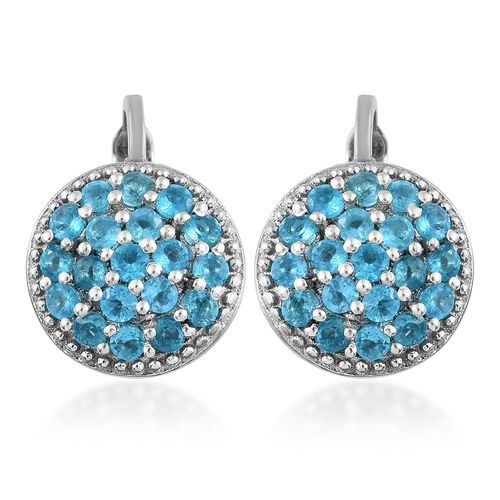 AA Malgache Neon Apatite (Rnd) Earrings (with Clip Lock) in Platinum Overlay Sterling Silver 1.500 C