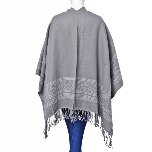 One Time Deal - Designer Inspired - White and Grey Colour Intricate Pattern Reversible Poncho with Tassles (Size 130x75 Cm)