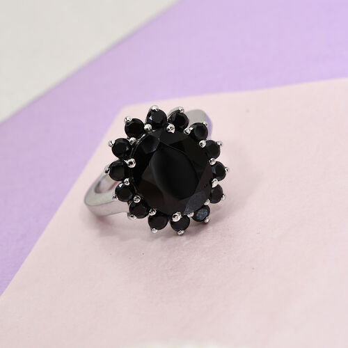 Boi Ploi Black Spinel Ring in Stainless Steel 5.33 Ct.