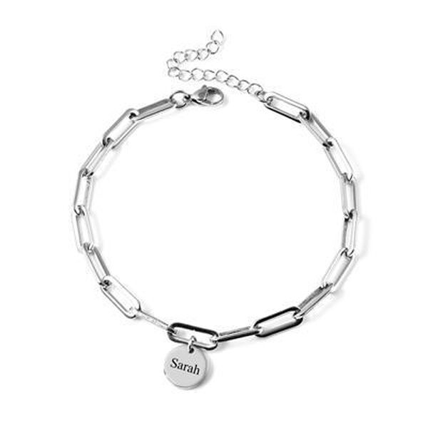 """Personalised Engravable Disc and Link Anklet, Size 11"""" in silver tone"""