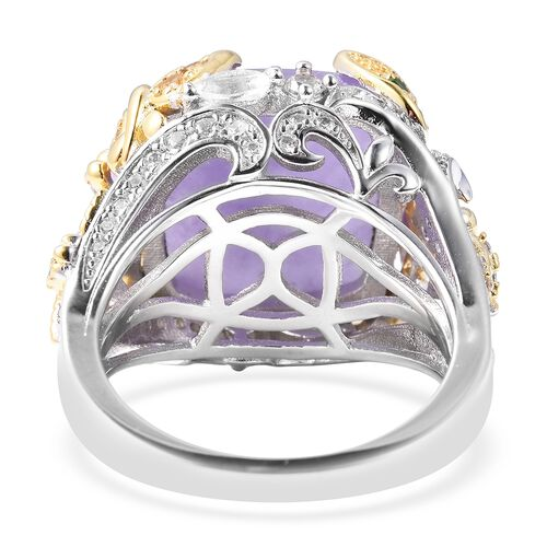 Jardin Collection - Purple Jade (Cush), Multi Gemstone Ring in Rhodium and Yellow Gold Overlay Sterling Silver 10.95 Ct, Silver wt 7.20 Gms, Number of Gemstone 109
