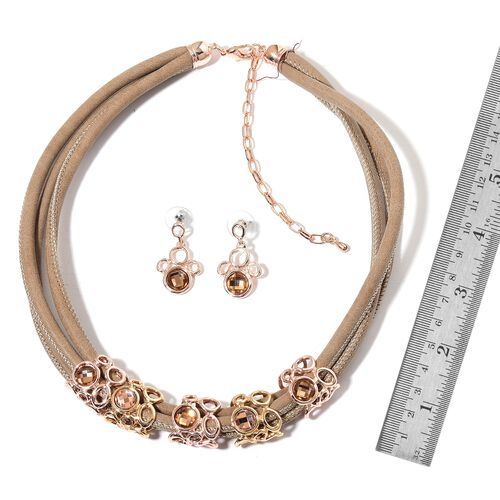 Champagne Colour Austrian Crystal Necklace (Size 18) and Earrings in Yellow and Rose Gold Tone