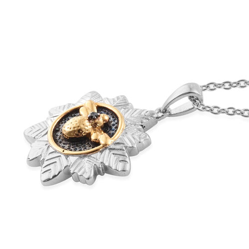 Black Diamond (Rnd) Floral Pendant with Chain (Size 18) in 14K Gold Overlay Sterling Silver, Silver wt 6.84 Gms.