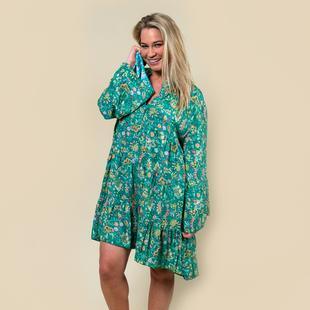 TAMSY Viscose Paisley Print Smock Dress One Size (Fits 8- 20) - Green