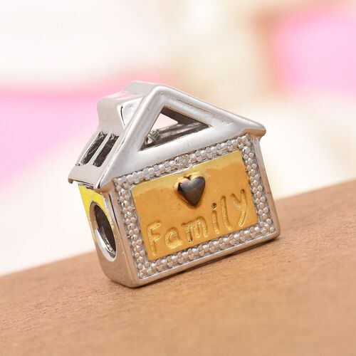 Charmes De Memoire Diamond Family House Charm in Platinum, Black and Yellow Gold Overlay Sterling Si