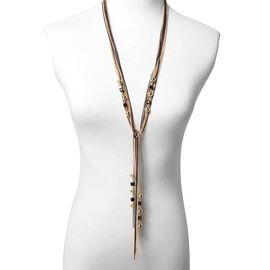 Simulated Black Spinel Multi Layer Necklace (Size 18 to 36 with 2 inch Extender) in Dual Tone