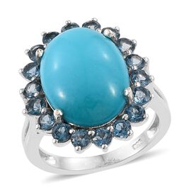 7.25 Ct Sleeping Beauty Turquoise and Topaz Halo Ring in Platinum Plated Silver