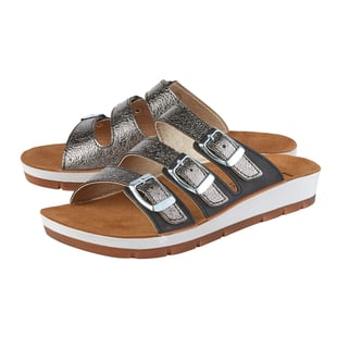LOTUS Turin Triple Adjustable Strap Flat Mule Sandals (Size 3) - Black/Pewter