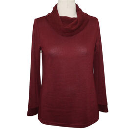 SUGAR CRISP Cowl Neck Jumper (Size S) - Wine Red