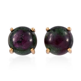 Ruby Zoisite (Rnd) Stud Earrings (with Push Back) in 14K Gold Overlay Sterling Silver 11.0 Ct.