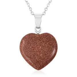 14.50 Ct Gold Sandstone Heart Pendant with Chain in Stainless Steel