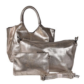 Kris Ana 3 Piece Set - Slouchy Tote Bag with Clutch Bag and Coin Pouch - Gold