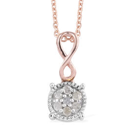 Diamond (Rnd) Infinity Pendant With Chain (Size 20) in Rose Gold and Platinum Overlay Sterling Silve