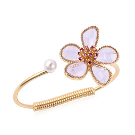 Fuchsia Colour Austrian Crystal, Simulated Kunzite and White Shell Pearl Floral Cuff Bangle (Size 7.