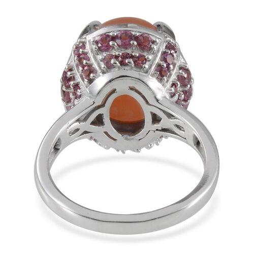 Mitiyagoda Peach Moonstone (Ovl 8.25 Ct), Rhodolite Garnet Ring in Platinum Overlay Sterling Silver 11.000 Ct.