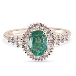9K Yellow Gold AAA Zambian Emerald and Diamond Ring 1.07 Ct.