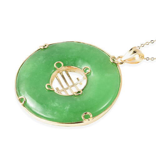 Burmese Green Jade Pendant With Chain (Size 18) in 14K Gold Overlay Sterling Silver 80.10 Ct, Silver wt. 5.10 Gms