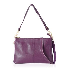 Super Soft 100% Genuine Leather Purple Cross Body Bag with Adjustable and Removable Shoulder Strap (