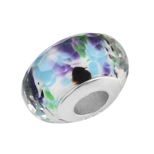 Charmes De Memoire Tropical Sea Murano Style Glass Bead Charm in Platinum Overlay Sterling Silver